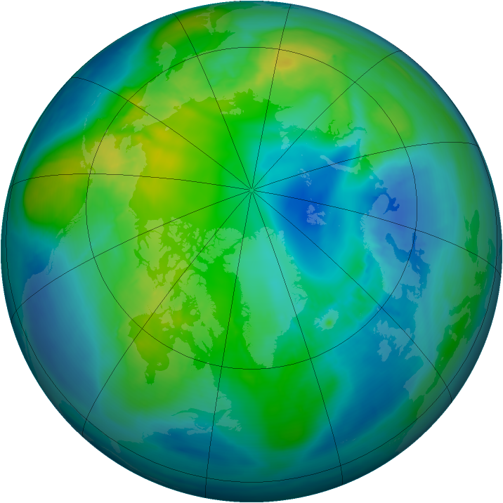 Arctic ozone map for 29 October 2014