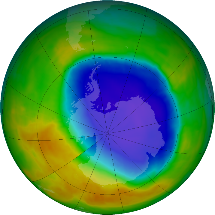 Antarctic ozone map for 29 October 2014