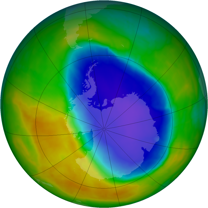Antarctic ozone map for 30 October 2014