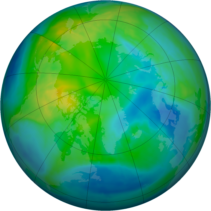 Arctic ozone map for 01 November 2014