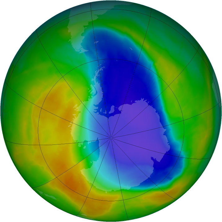 Antarctic ozone map for 01 November 2014