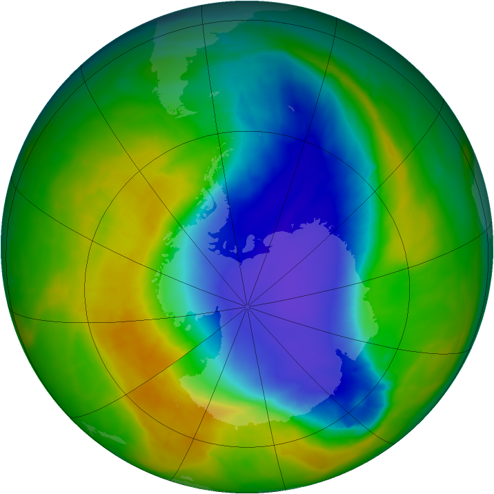 Antarctic ozone map for 02 November 2014