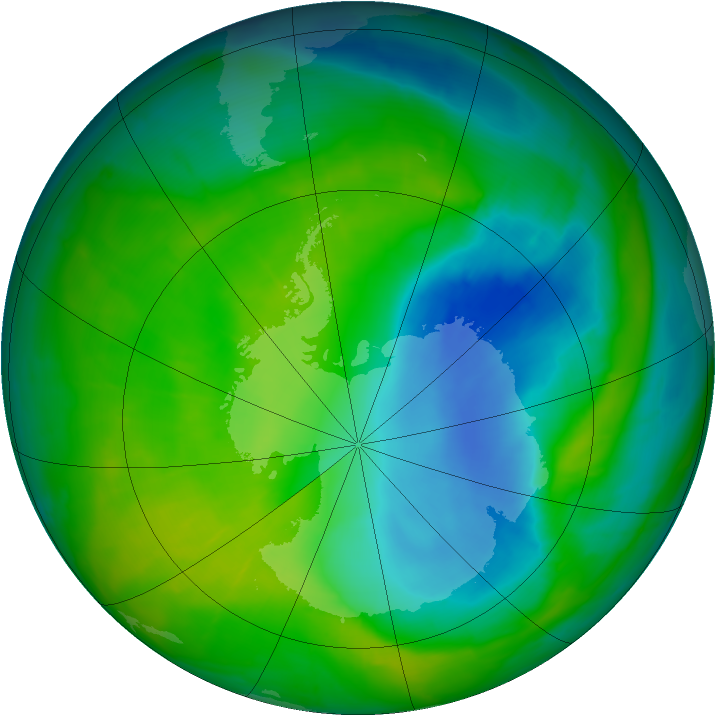 Antarctic ozone map for 01 December 2014