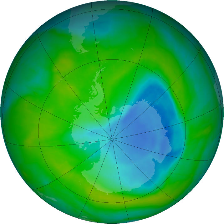 Antarctic ozone map for 05 December 2014
