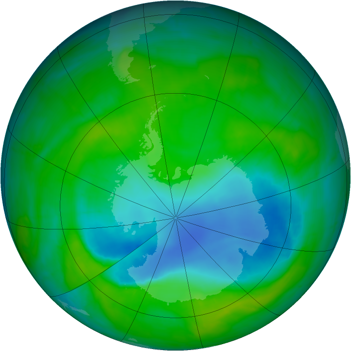Antarctic ozone map for 09 December 2014
