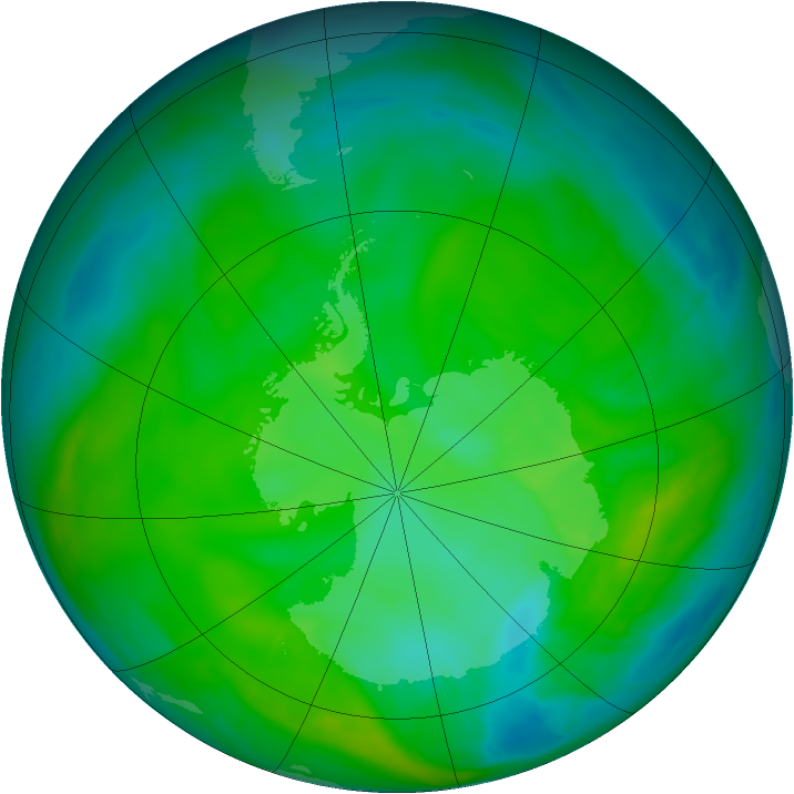 Antarctic ozone map for 15 December 2014