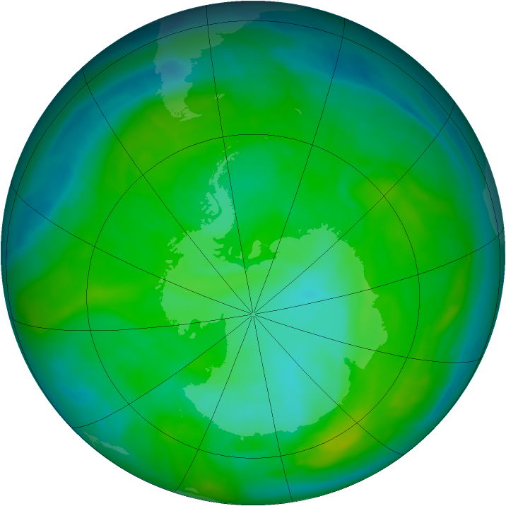 Antarctic ozone map for 18 December 2014