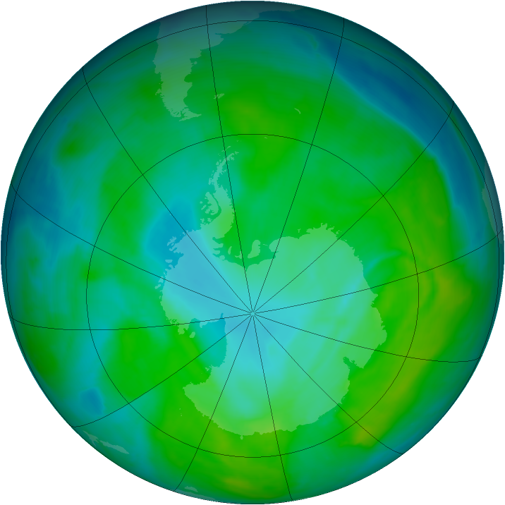 Antarctic ozone map for 24 December 2014