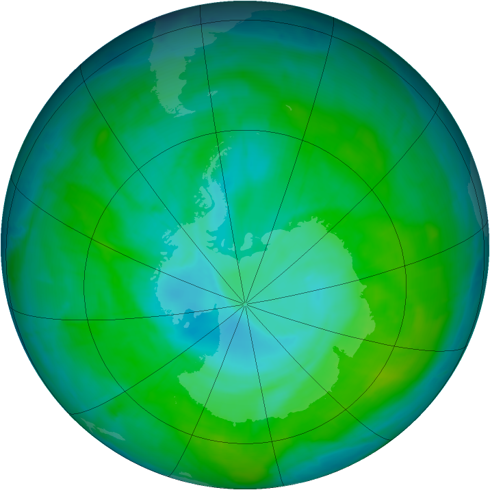 Antarctic ozone map for 28 December 2014