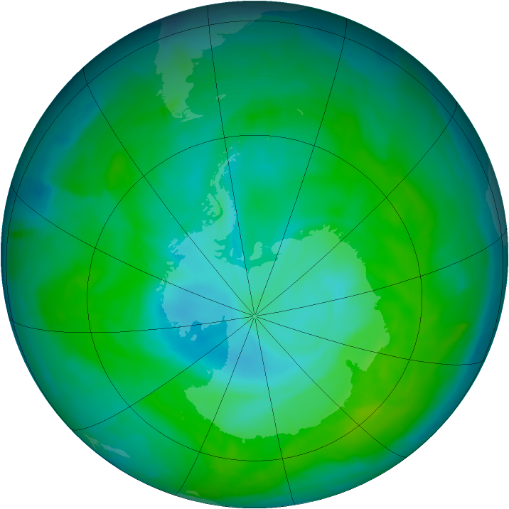 Antarctic ozone map for 29 December 2014