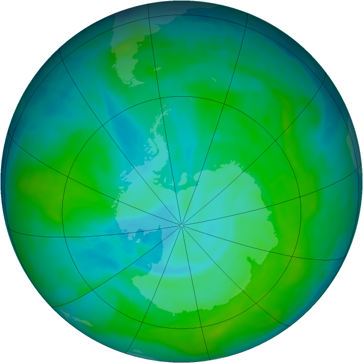 Antarctic ozone map for 31 December 2014