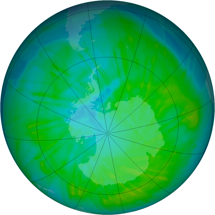Antarctic ozone map for 04 January 2015