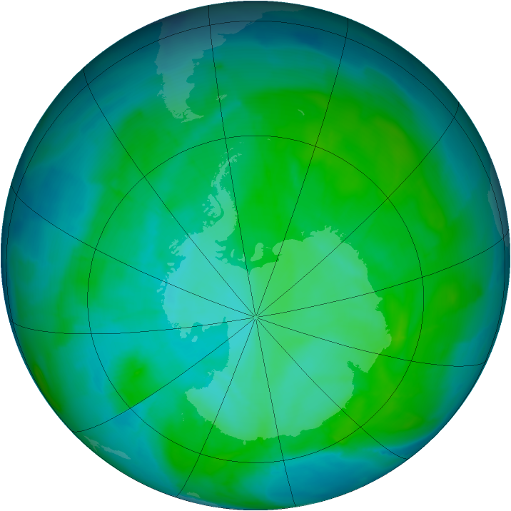 Antarctic ozone map for 09 January 2015