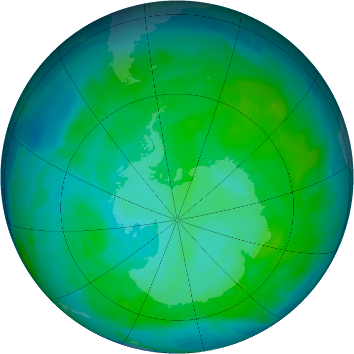 Antarctic ozone map for 10 January 2015