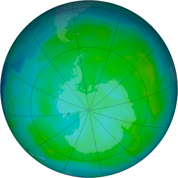 Antarctic ozone map for 11 January 2015