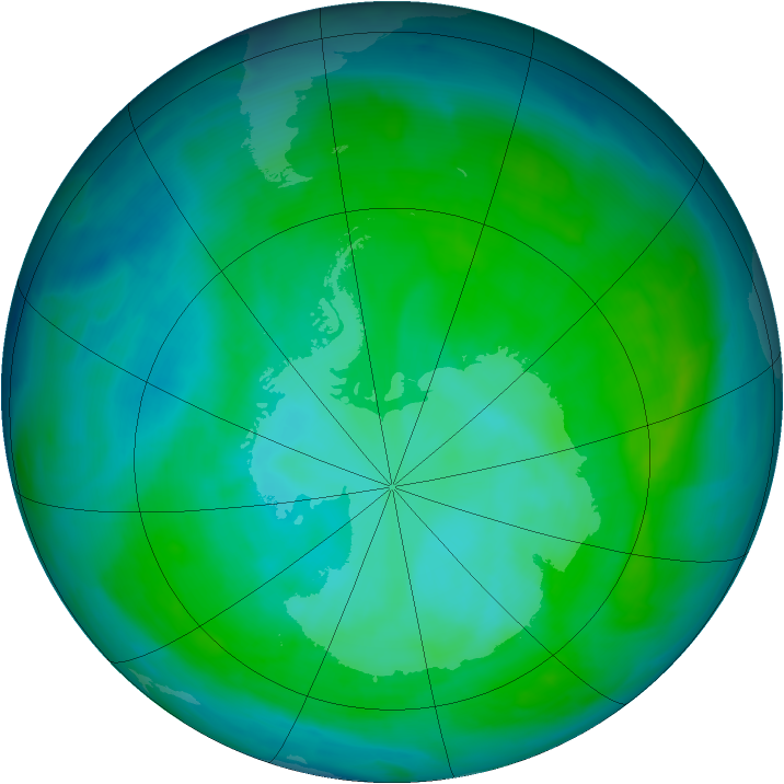 Antarctic ozone map for 12 January 2015