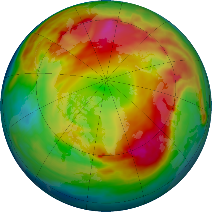Arctic ozone map for 13 January 2015