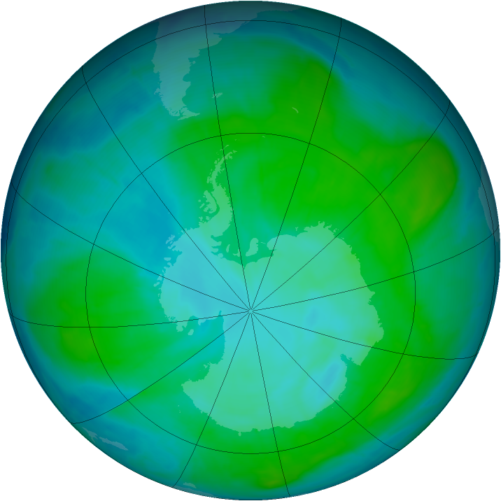 Antarctic ozone map for 15 January 2015