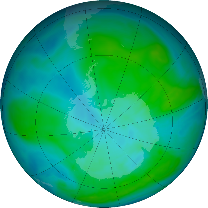 Antarctic ozone map for 16 January 2015