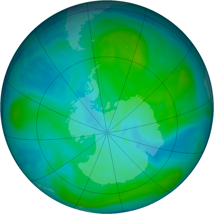 Antarctic ozone map for 17 January 2015