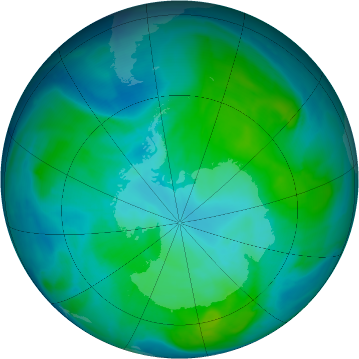 Antarctic ozone map for 21 January 2015