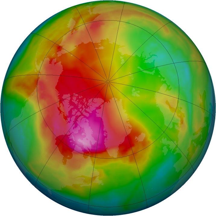Arctic ozone map for 25 January 2015