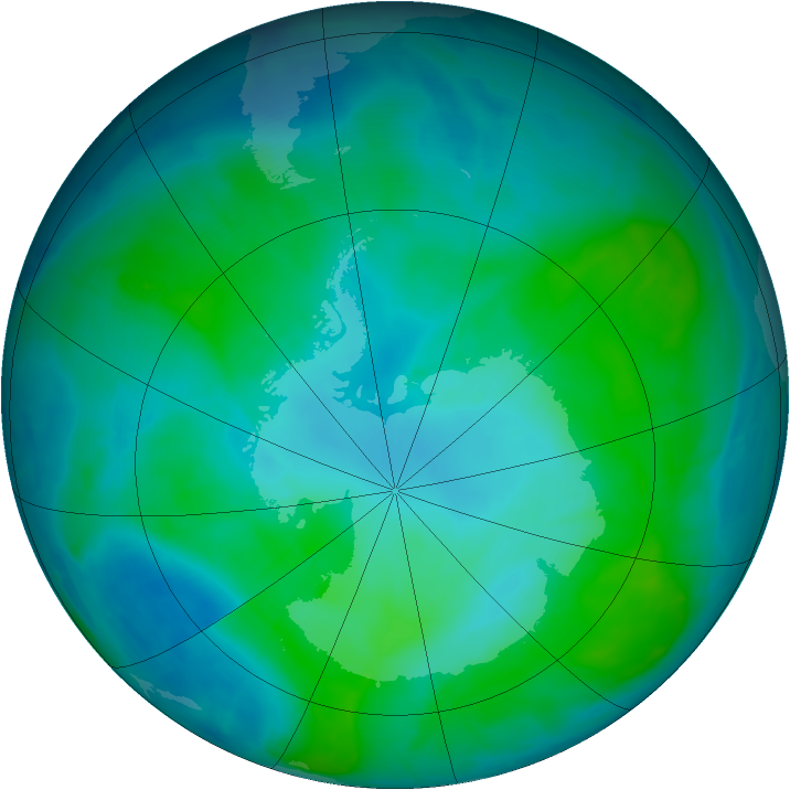 Antarctic ozone map for 25 January 2015