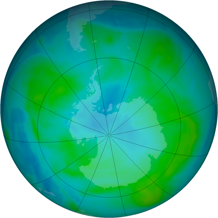 Antarctic ozone map for 28 January 2015