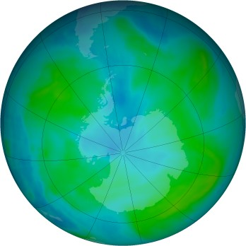 Antarctic ozone map for 2015-01-29