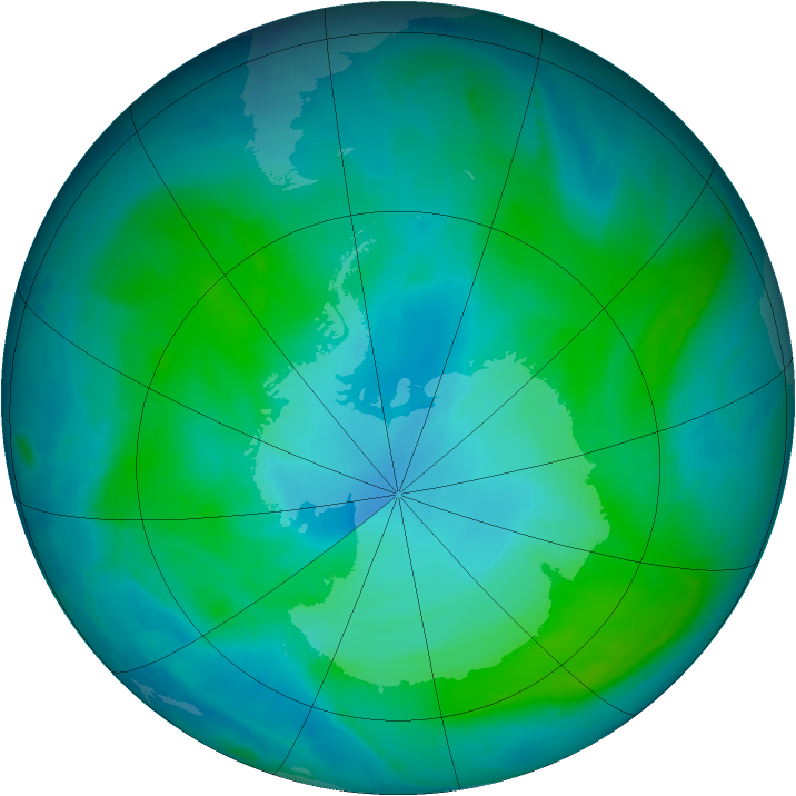 Antarctic ozone map for 30 January 2015