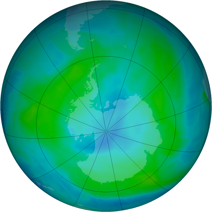 Antarctic ozone map for 01 February 2015