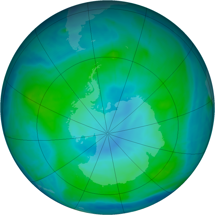 Antarctic ozone map for 02 February 2015