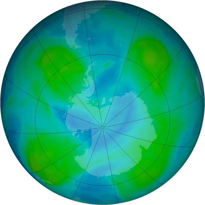Antarctic ozone map for 05 February 2015