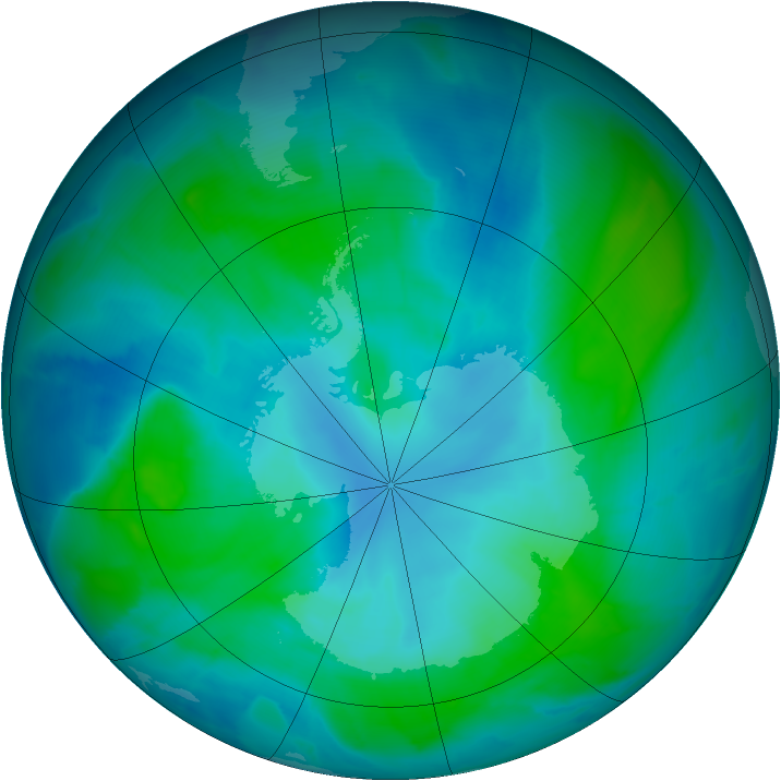 Antarctic ozone map for 07 February 2015