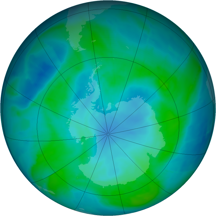 Antarctic ozone map for 09 February 2015