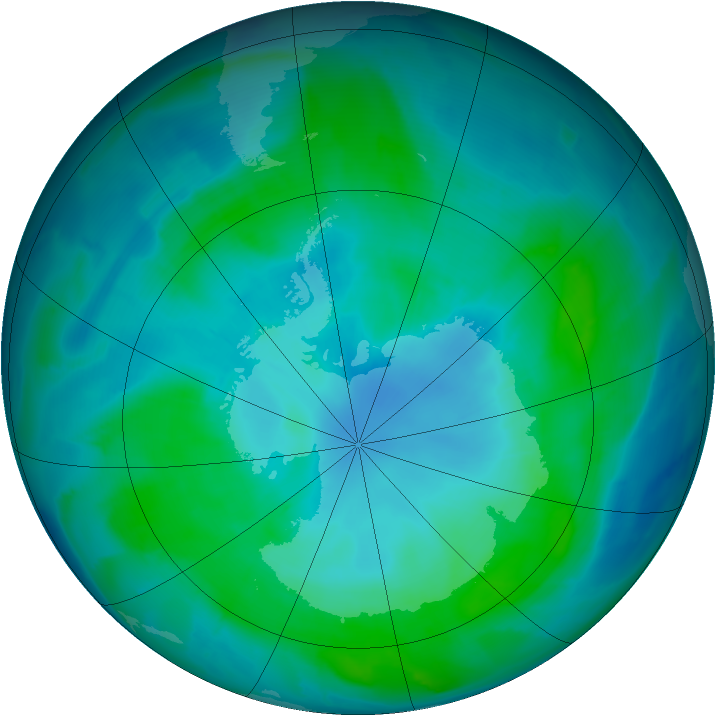 Antarctic ozone map for 10 February 2015