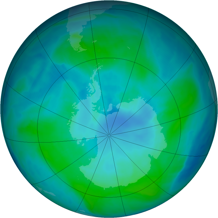 Antarctic ozone map for 11 February 2015
