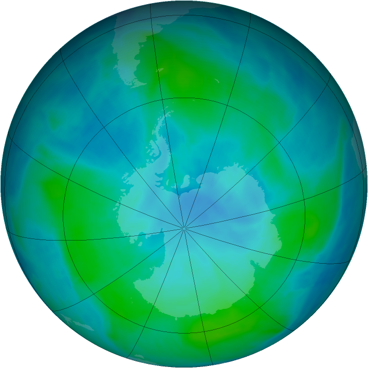 Antarctic ozone map for 12 February 2015