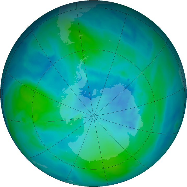 Antarctic ozone map for 18 February 2015