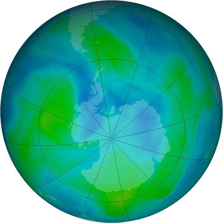 Antarctic ozone map for 19 February 2015