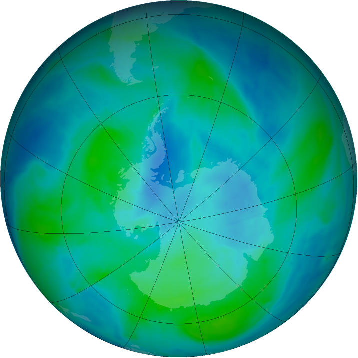 Antarctic ozone map for 20 February 2015