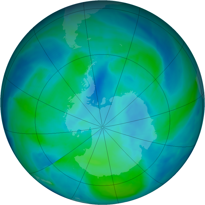 Antarctic ozone map for 21 February 2015