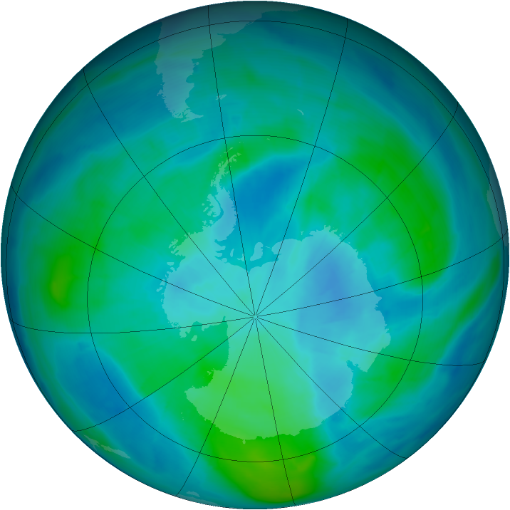 Antarctic ozone map for 22 February 2015
