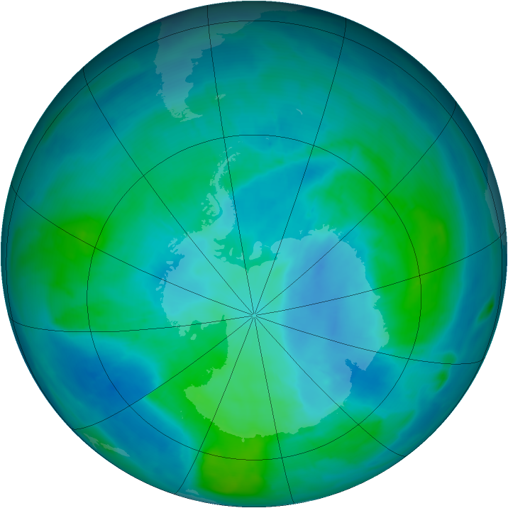Antarctic ozone map for 23 February 2015
