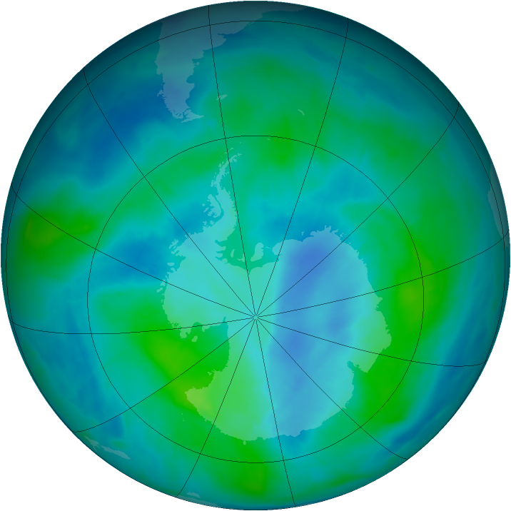 Antarctic ozone map for 25 February 2015