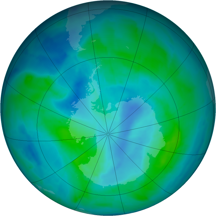 Antarctic ozone map for 26 February 2015