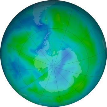 Antarctic ozone map for 2015-02-27