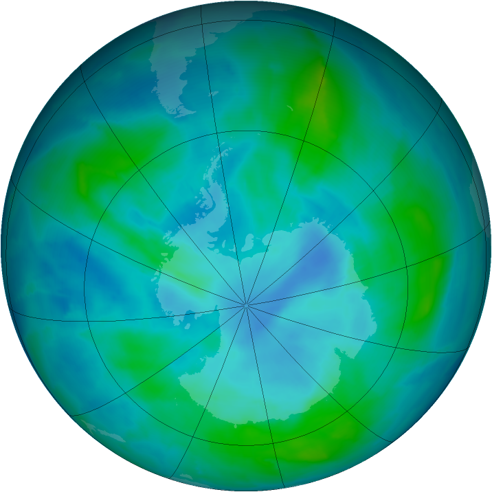 Antarctic ozone map for 28 February 2015