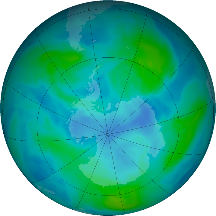 Antarctic ozone map for 01 March 2015