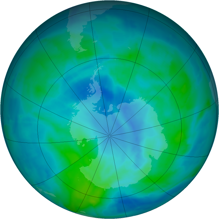 Antarctic ozone map for 05 March 2015